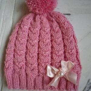 Roosa meriino müts lõngapood